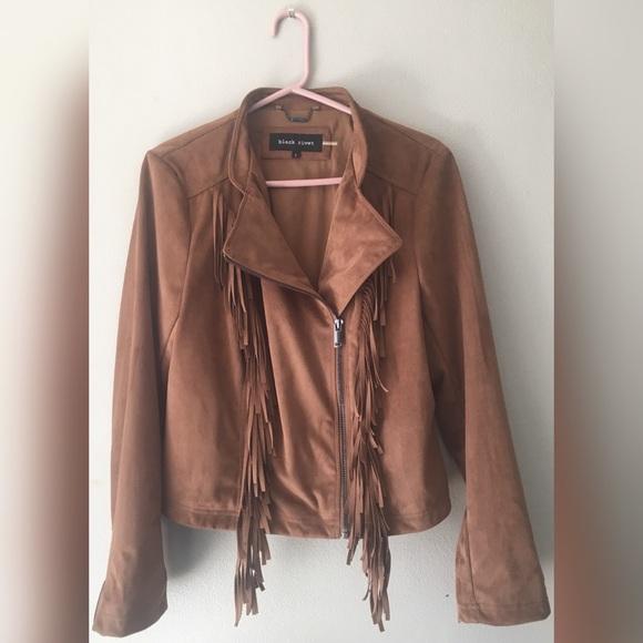 b7e53513f Women's Jacket - Faux Suede Fringe- Camel- L